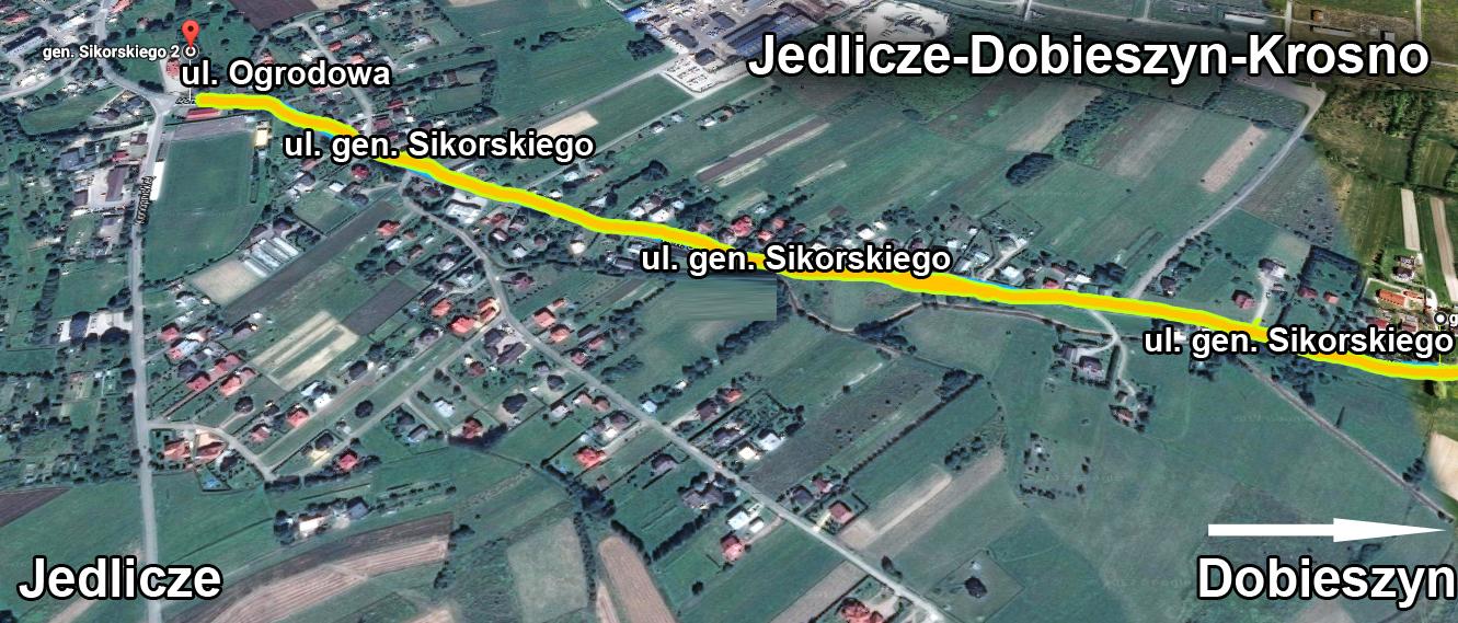 Planowany przebieg budowy chodnika w ciągu drogi Jedlicze-Dobieszyn-Krosno / infografika / google maps